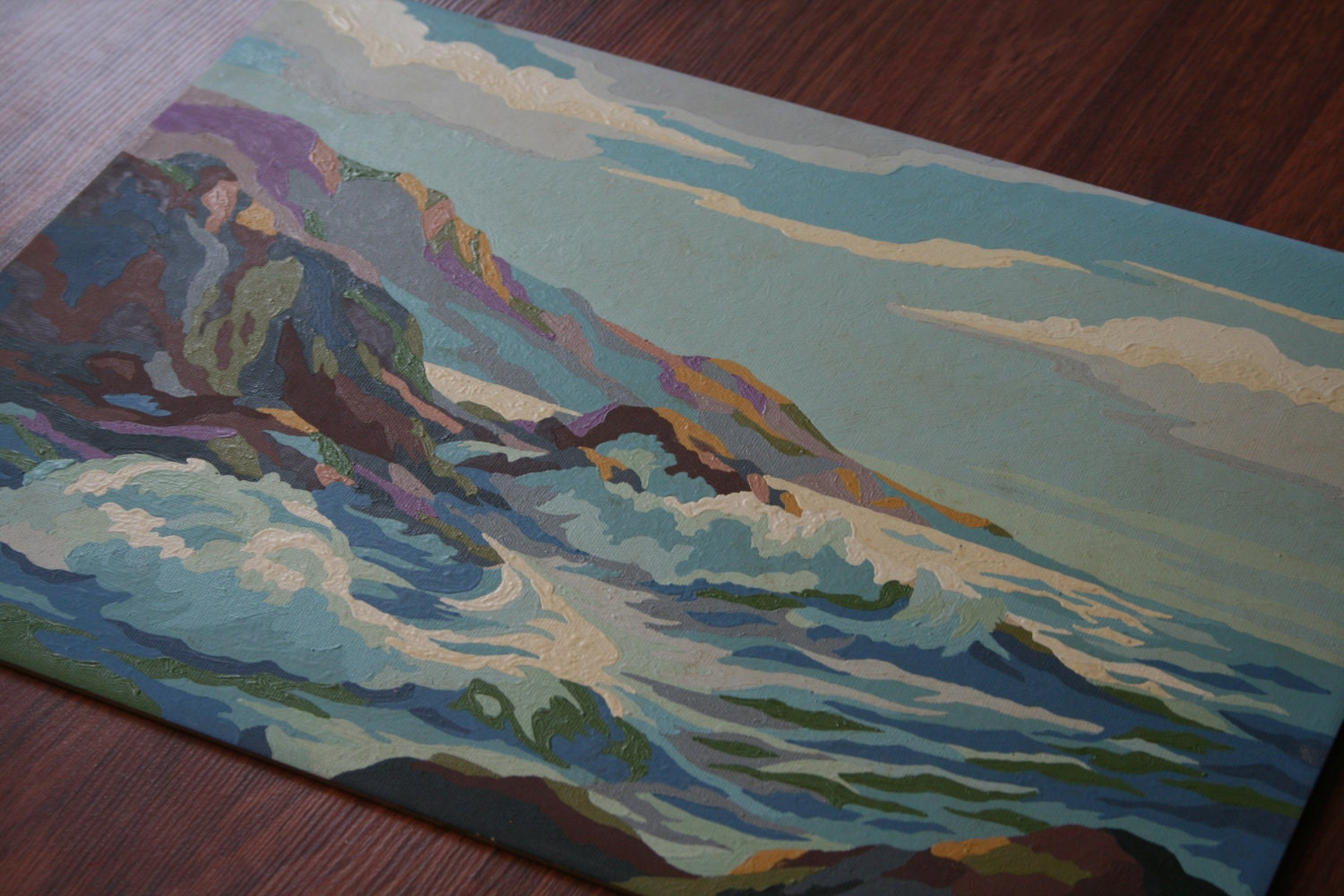 Vintage Paint By Number Crashing Ocean Waves
