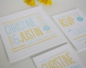 Modern Wedding Invitation - Unique Letterpress Invitation - Christine SAMPLE