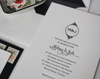 Sample for Anja - Classic Monogram Black and White Invitation - Grace
