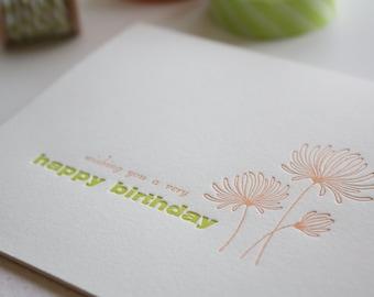 Letterpress Birthday Greeting Card - Birthday Mums