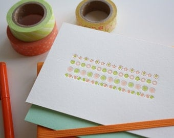 Letterpress Notecards - Tiny Flowers - Set of 3
