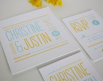 Modern Wedding Invitation - Unique Letterpress Invitation - Christine SAMPLE