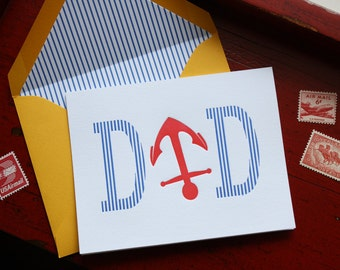 Father's Day Letterpress Card - DAD Nautical