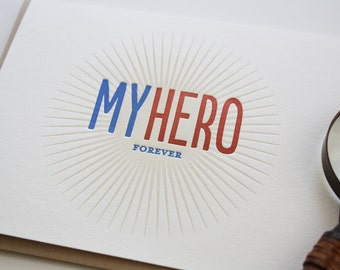 Father's Day Card - My Hero - Letterpress