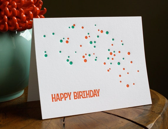 Letterpress Birthday Card - Happy Birthday Dots - Folded Single Greeting Card