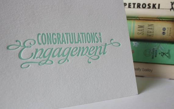 Engagement Congratulations Card - Letterpress Congratulations on your Engagement - Happy Engagement