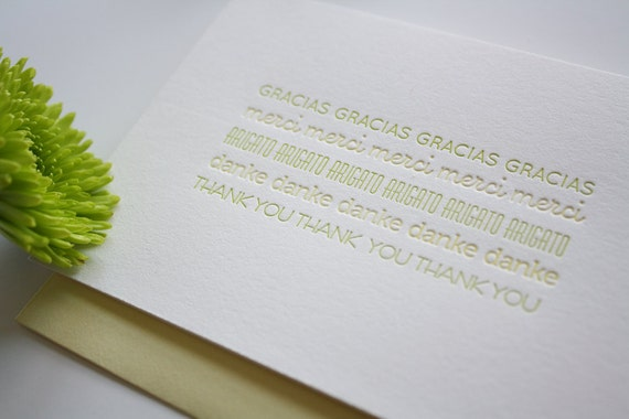 Letterpress Thank You Card - Set of 3