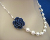 Reserved for Karissa Navy Blue Rose and Pearl Wedding Necklace and Simplicity Earrings