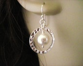 Wedding Jewelry Modern Bride Sterling Silver Circle and Pearl Earrings
