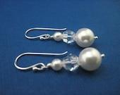 Bridal Jewelry Bridesmaid Jewelry Pearl and Crystal Wedding Earrings Katie
