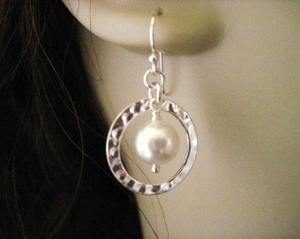Sterling Silver Eternity Circle and Pearl Earrings