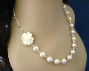 Wedding Jewelry White Rose and Pearl Bridal Necklace