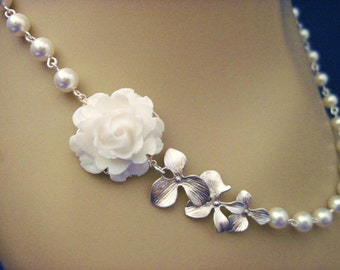 Wedding Jewelry, Orchid Wedding, Pearl and Orchid Wedding Necklace Choose Your Flower