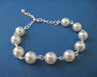 Bridesmaid Jewelry Simplicity Choose Your Color Pearl Bridal Bracelet