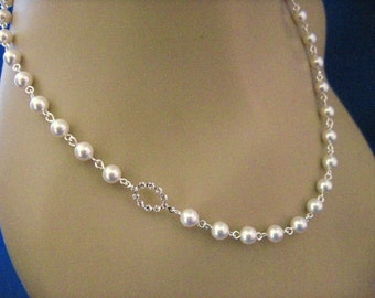 Wedding Jewelry Mandy Bridal Pearl and Crystal Oval Bridal Necklace
