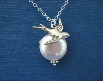 Bridesmaid Jewelry Coin Pearl and Bird Wedding Necklace