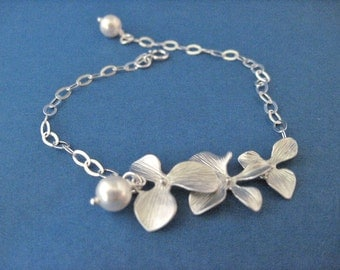 Triple Orchid Silver Bracelet with Pearl Accent