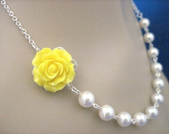 Bridesmaid Jewelry Valencia Rose Sunshine Yellow Wedding Necklace