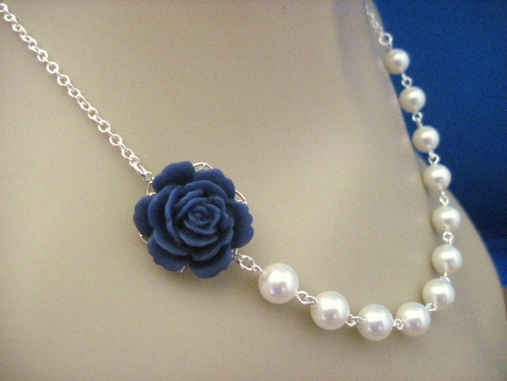 Navy Blue Jewelry, Bridesmaid Necklace Navy Blue Rose and Pearl Wedding Necklace