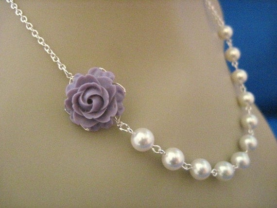 Wedding Jewelry Amethyst Purple Rose and White Pearl Bridesmaid Necklace