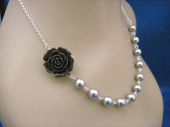 Bridesmaid Jewelry Dark Gray Rose and Pearl Choice Bridal Necklace