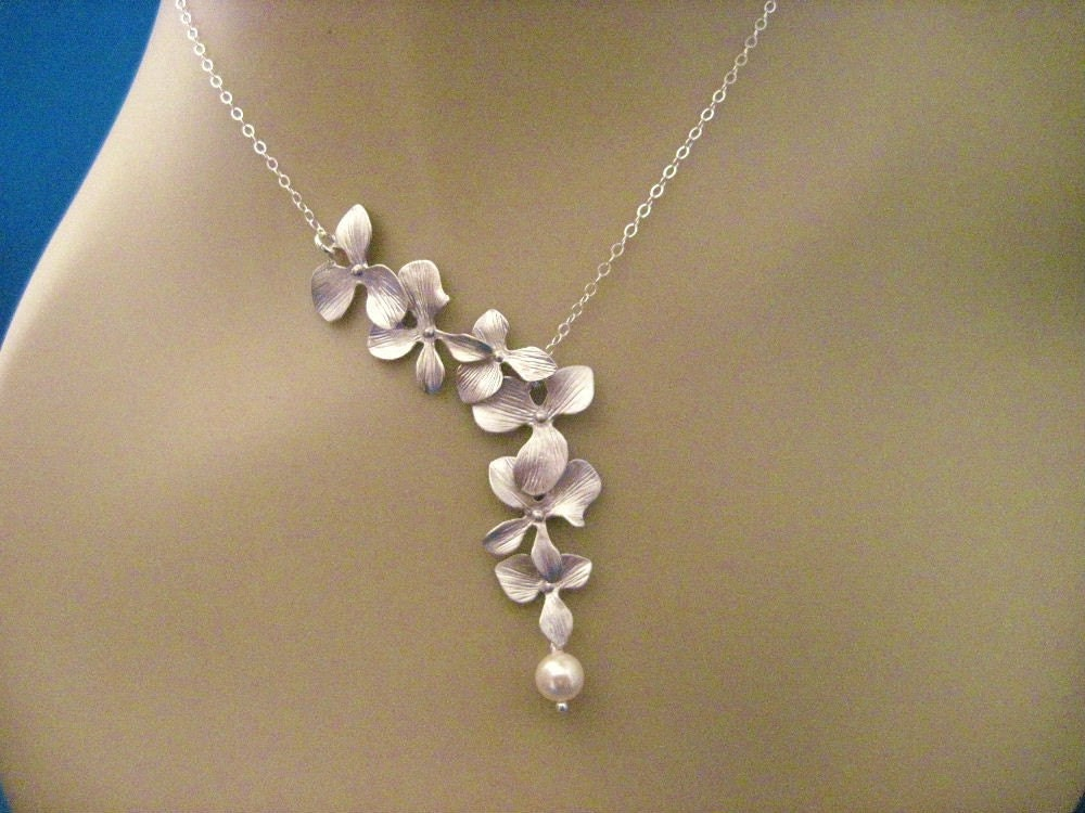 Orchid jewelry silver orchid wedding necklace for Wedding ring necklace