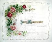 Digital Download Scan Vintage Marriage Certificate Blank Pink Roses