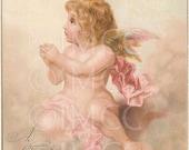 Digital Download Scan Pink Cherub Angel Ephemera  Christmas Postcard Tuck and Sons