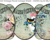 30mm x 40mm Ovals Instant Digital Download Collage Sheet Vintage Birds Victorian Roses Daisies Floral Postcards Tags ECS OV001