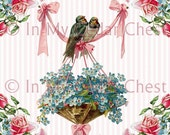 8 x 10 Chic Victorian Shabby Ribbons Pink Roses Birds Forget Me Nots Flowers Digital Download U Print ECS Item FMNB-2