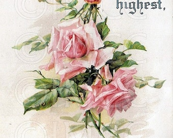 Digital Download Scan Victorian Motto Vintage Pink Roses Spiritual Graphic