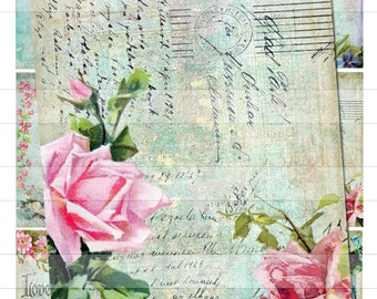 Vintage Shabby Pink Roses Chic ATC Postcards Digital Download Collage Sheet Birds Flowers U-Print ECS No. A013
