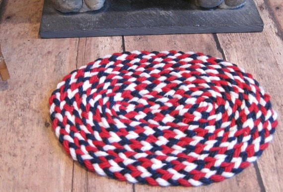 red white and blue hand braided rug. Black Bedroom Furniture Sets. Home Design Ideas
