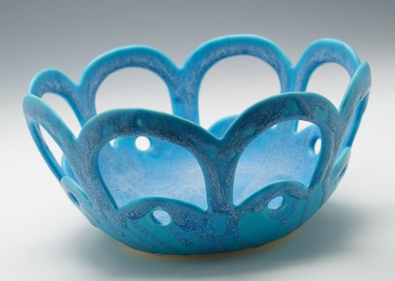 Turquoise Matte Lace/ Fruit/ Bread  Bowl - Sunny Summer Sale - 20% off with coupon code SUMMER20