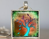 Spring Tree Silver Art Pendant with Necklace and Matching Gift Tin - Silver and Resin Art Pendant - Photo Pendant Charm