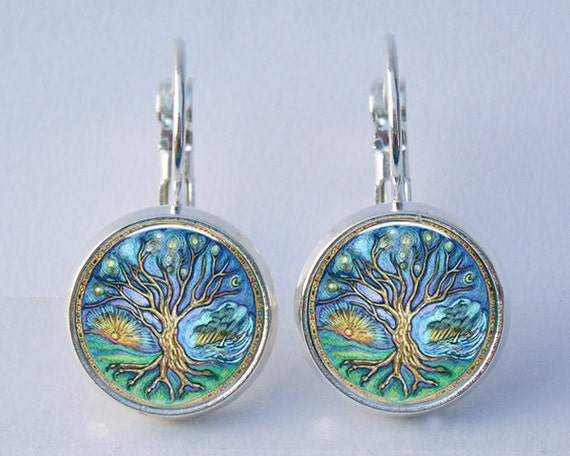 Earrings - Tree of Life Silver and Resin Leverback Earrings in Matching Gift Tin