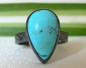 RESERVED Blackened Silver and Turquoise Hammered Ring