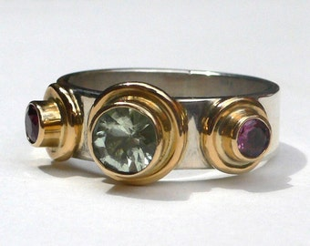 Tourmaline Silver and Gold Bauble Ring