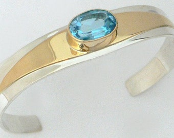SALE - Chevron Cuff Bracelet with Blue Topaz in Sterling Silver and 18k Gold