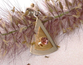 SALE Silver & 18k Gold Tourmaline Triangle Pendant