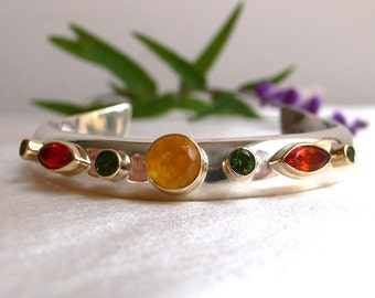 Luxurious Thick Curved Cuff Bracelet in Silver and 18 karat Gold, Mexican Fire Opal & Green Tourmaline