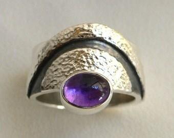 Amethyst & Silver Sunset Ring