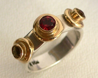 Garnet & Citrine 18k Gold and Silver Ring
