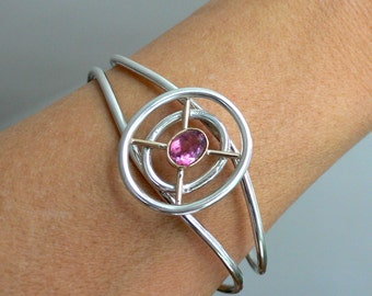 SALE - Dreamcatcher Bracelet with Pink Tourmaline, Silver and 18 Karat Gold