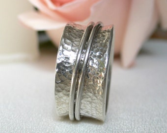 Silver Meditation Band - Hammered and Tapered with 2 Moveable Rings