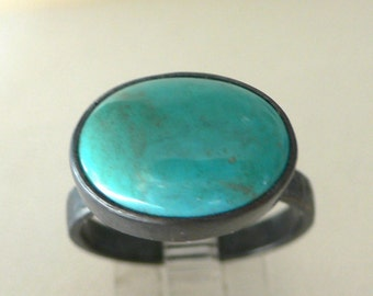 Turquoise and Blackened Silver Hammered Ring