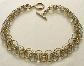 SALE - Silver and Brass Triple Link Necklace