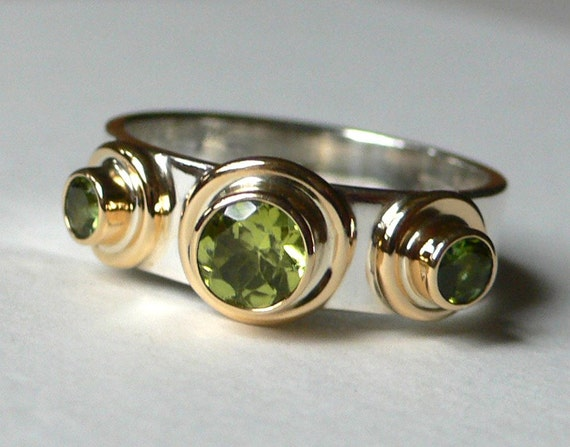 Peridot & Green Tourmaline, Silver and 18K Gold Bauble Ring
