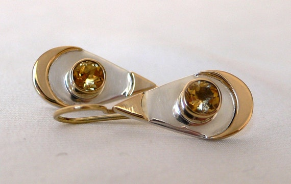 Citrine Silver & Gold Teardrop Earrings