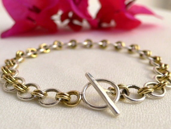 SALE - Charm Bracelet in Sterling Silver and Brass